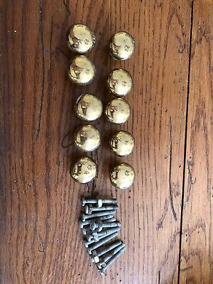 """Cabinet Pull Draw Knobs 1"""" Solid Brass Antique Vintage - Lot of 10"""