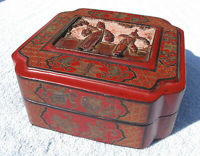 Antique? Japanese paper mache lacquer box with curshed mica papier red orange