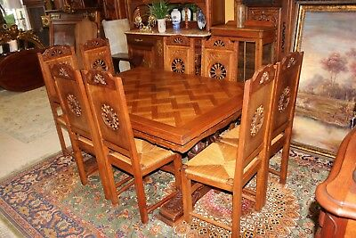 French Antique Carved Oak Brittany Table & 8 Chairs | Dining Room Furniture Set