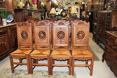 French Antique Carved Oak Brittany Set of 8 Chairs | Dining Room Furniture