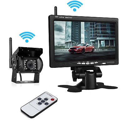 """Wireless Rear View Backup Camera Night Vision System 7"""" Monitor for RV Truck Bus"""