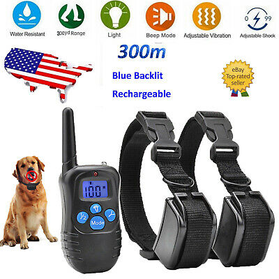 Remote Training Shock Collar Rechargeable LCD Pet Stop Bark Trainer For 1/2 Dog