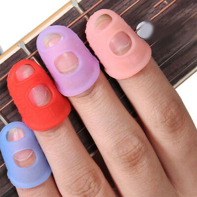 4x Silicone thimble finger tip protectors needle sewing guitar crochet 3 Size