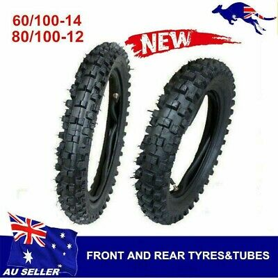 """60/100-14"""" Front + 80/100-12"""" inch Rear Knobby Tyre Tube Pitbike PRO Dirt bike"""