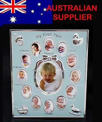 Baby First Year Photo Frame Record Newborn Boy 12 Hole Gallery Gift Present