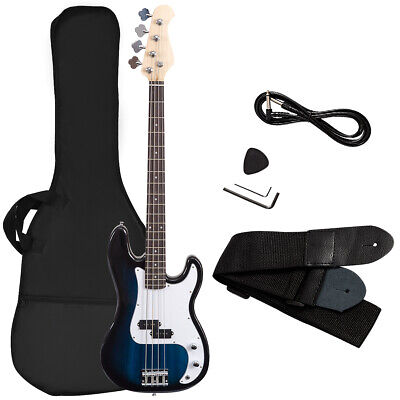 Full Size Electric Bass Guitar 4 String with Strap Guitar Bag Amp Cord Blue New