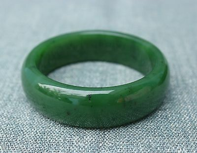 60mm Chinese Xinjiang 100% Hetian Green Jade Jadeite Hand-carved Bracelet Bangle