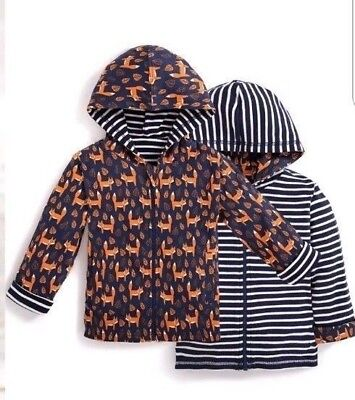 JoJo Maman Bebe Fox Stripe Reversible Hoodie Jacket 0-3Months - 5-6Years RRP £21