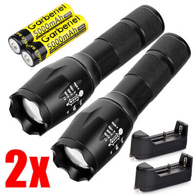 Tactical 90000LM T6 LED 18650 Super Bright Zoomable Flashlight Torch+Charger