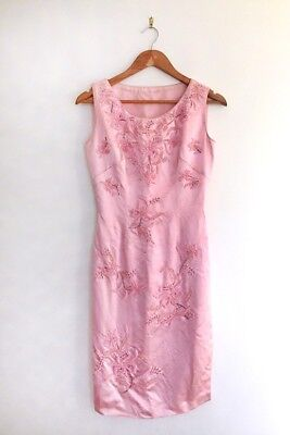 Vintage 1960's satin pink beaded cocktail dress   Womens xs
