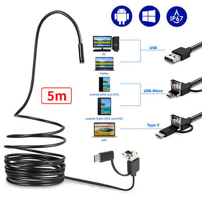 HARTES KABEL 5M USB Endoskop Kamera 5,5mm HD LED Inspektion für Handy Android PC
