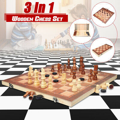 40*40cm 3in1 FOLDING WOODEN CHESS SET Board Game Checkers Backgammon Draughts