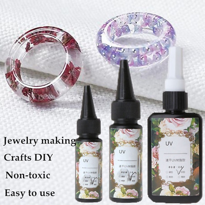 UV Resin Epoxy Jewelry Making Transparent Soft Quick Solidify Crafts 10/25/50g