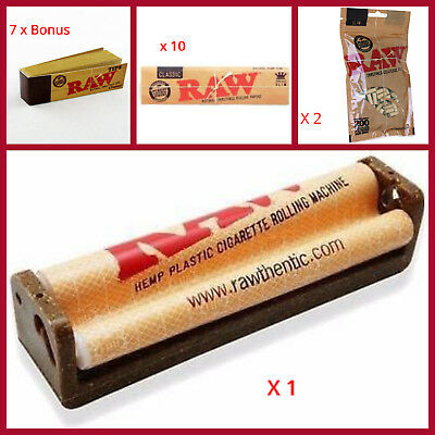 RAW ROLLING SMOKERS STARTER PACK King size PAPERS,ROLLING MACHINE,FILTERS & TIPS