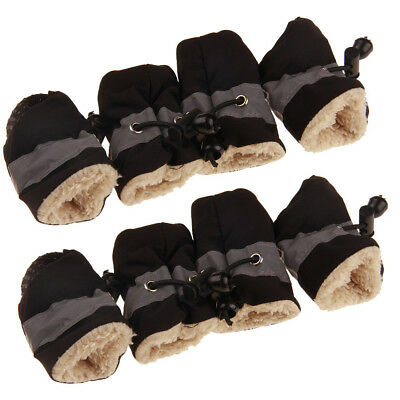 4Pcs Waterproof Pet Non-slip Shoes Winter Dog Cat Puppy Snow Boots Warmer Black