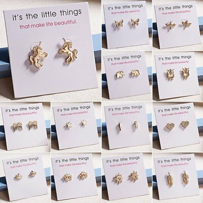 Fashion Women's Girl Gold Heart Sun Animal Earrings Cute Ear Stud Jewelry Hot
