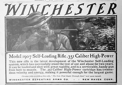 1908 Ad(J5Winchester Repeating Arms Co. New Haven, Conn. .351 Model '07