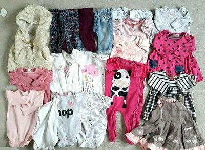 100% NEXT Baby Girl Bundle Sleepsuits Little Sister 3-6 months