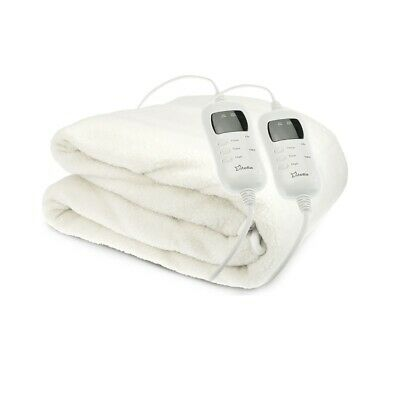 Electric Heated Fleece Blanket Fitted Washable 9 Heat Level Setting Dual Control