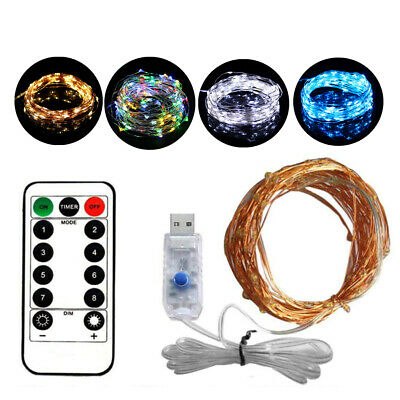 20M 200LED Flexible USB Copper Wire RGB Fairy String Light With Remote Control R