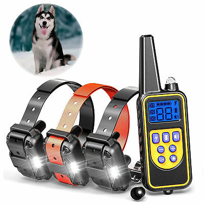 800M Dog Shock Training Collar Remote Rechargeable Pet Trainer For S M L Dogs