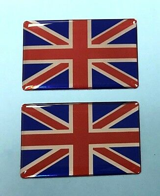 2 x 52mm UNION JACK FLAG Sticker/Decal - RED-CHROME-BLUE - HIGH GLOSS DOMED GEL