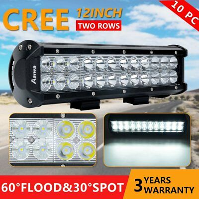 10 x 12inch 240W CREE LED Light Bar Spot Flood Offroad Work Driving 4WD Reverse