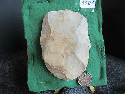"""NORTH AMERICAN SCRAPER or HOE POINT, LARGE   3-1/4""""  STONE ARROWHEAD,  CHI 0-355"""