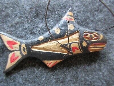 Northwest Coast Christmas Ornament, Hand Carved & Painted Whale  Wy-01943