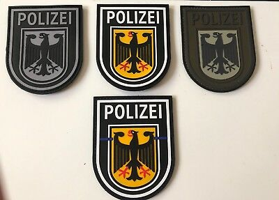 Bundespolizei Patch 3D Rubber Gummi Patch Klett Set 4 Patches Sammeln Neu