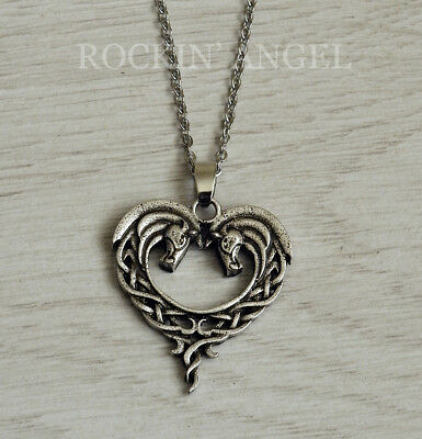 Antique Silver Plt Celtic Knot Heart of a Horse Pendant Necklace Ladies Gift (C)
