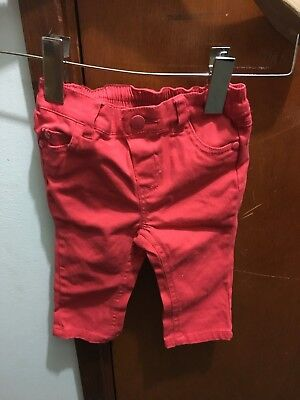 The Kids Store Red Skinny Jeans Sz 6-12 Mths Bnwt Free Post (E96)