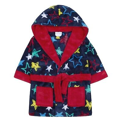 Baby Boys Hooded Fleece Dressing Gown Soft Bath Robe Star Print Infants Size
