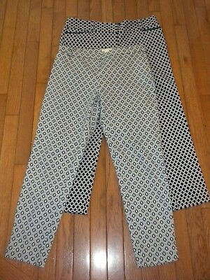 Womens print pant lot of 2 navy size size 10 / large The Limited H&M