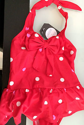 BABY GIRL RED POLKA DOT 'LADDIE AND LASSIE' SWIMSUIT. size 1-2 years BNWT (F83