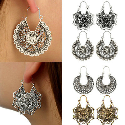 Boho Women Vintage Gold Silver Charm Jewelry Hollow Drop Dangle Hook Earrings