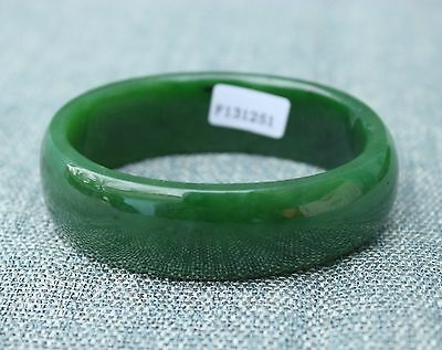 58mm Chinese Xinjiang 100% Hetian Green Jade Hand-carved Bracelet Bangle
