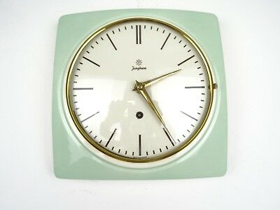 JUNGHANS German Retro Green Vintage Ceramic Kitchen Wall Clock (Kienzle era)