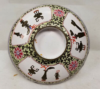 Antique Chinese Peking Canton Enamel Dish Cover Lid Archaic Bronzes