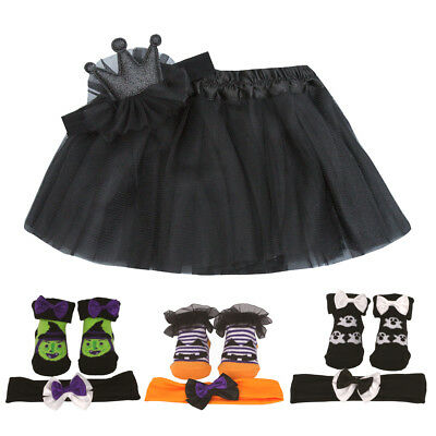 Baby Girls Halloween Tutu Costume Outfit Headband Crown Pumpkin Witch Ghost