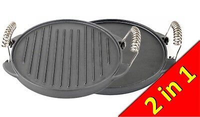 Reversible Cast Iron Non-Stick Grill Plate for Gas Stove BBQ Camping 25cm
