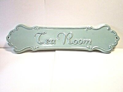 Pretty Ceramic Victorian French County Soft Green Tea Room Wall Door Sign NEW
