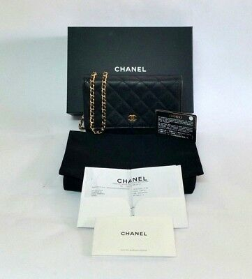 6a1850830ff6 CHANEL Black Quilted Caviar Leather Mini Wallet-On-Chain Flap Clutch Bag