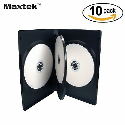 10 Pack Maxtek Standard 14mm Black Quad 4 Disc DVD Cases with Double Side... New