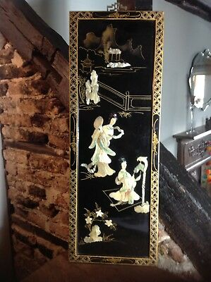 Mother Of Pearl Oriental Chinese Lacquer Oriental Wall Decor Picture vintage old