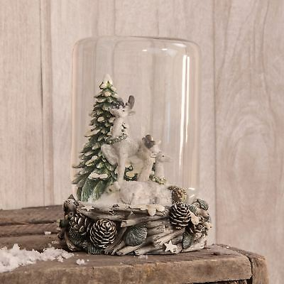 Hand Painted Reindeer Woodland Scene Cylindrical Snow Globe