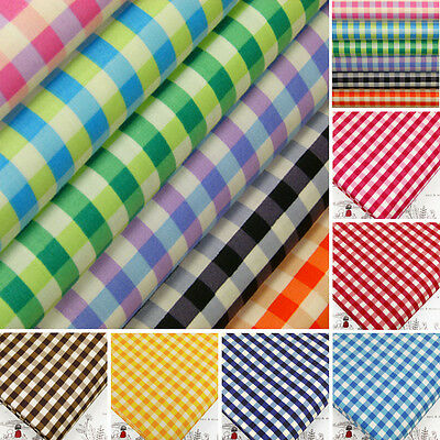 100% Cotton Fabric FQ Retro Gingham Plaid Check Bag Dress Quilting Patchwork VA7