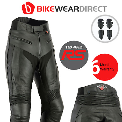 Black Mens RS Leather Motorcycle Motorbike Biker Trousers Jeans Pants CE Armour