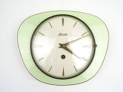 German Retro Green Vintage Ceramic Kitchen Wall Clock (Junghans Kienzle era)