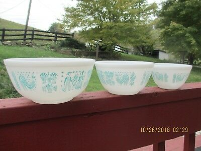 3 Pc Set Pyrex Amish Butterprint Mixing Bowls - White & Turquoise/Aqua  #401-403